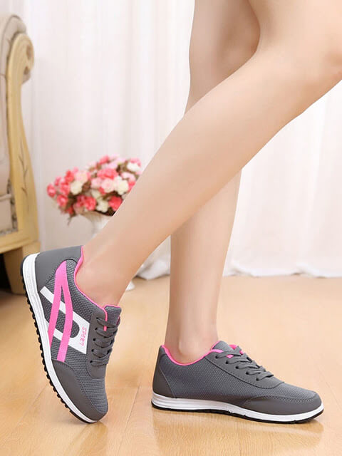 PU Panel Lace Up Sneakers