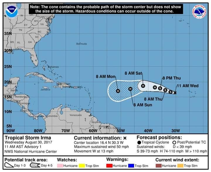 Se forma la tormenta Irma y amenaza convertirse en huracán rumbo al Caribe Por EFE/Tomado de El Nuevo Diario