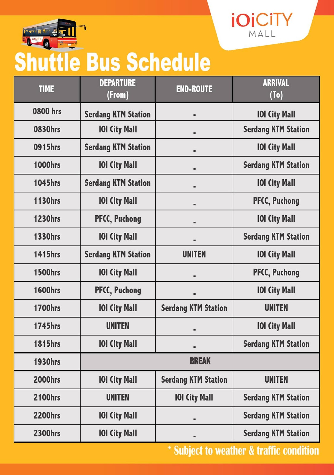 IOI City Mall Shuttle Bus Schedule (Serdang KTM Station - IOI City Mall)