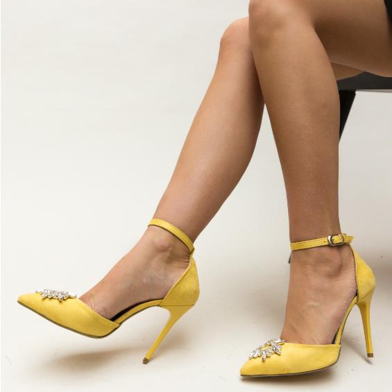 Pantofi galbeni eleganti de ocazii speciale cu toc inalt decupati