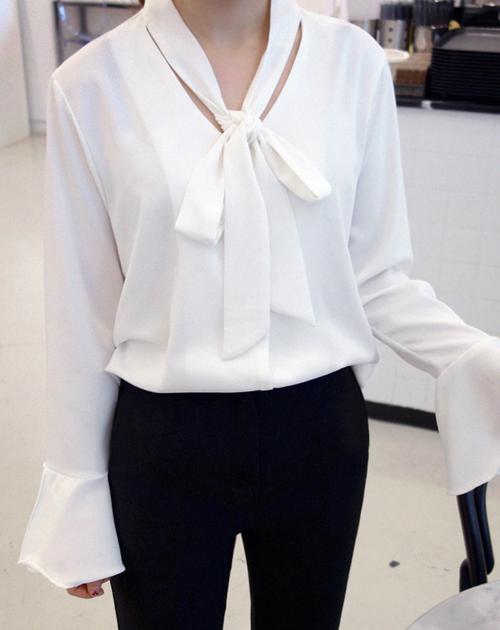 Tie-Neck Flounce Sleeve Blouse