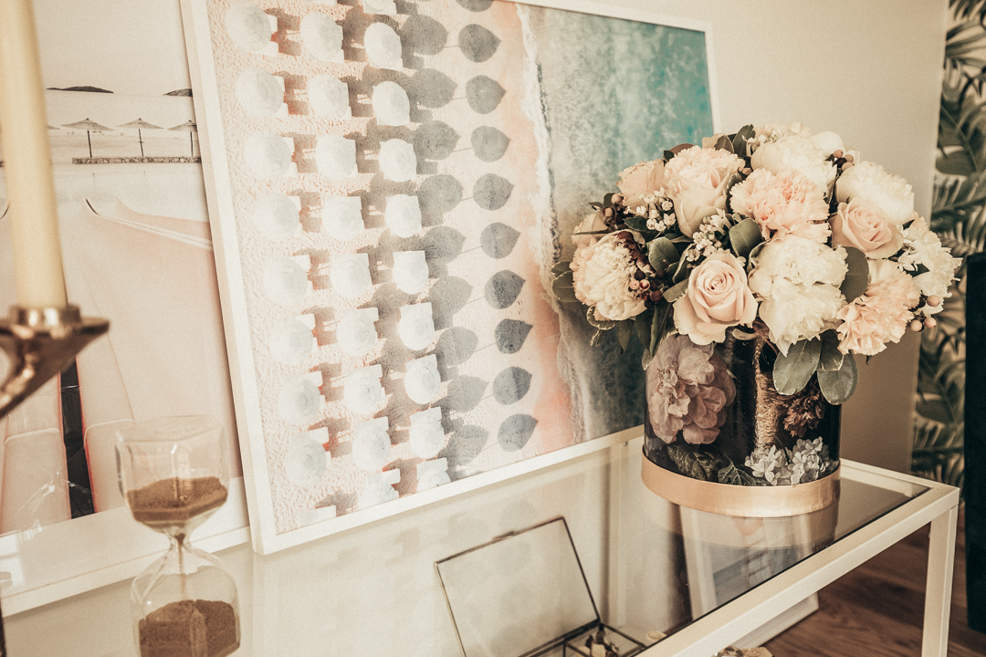 interior design home table decor art posters flowers candles