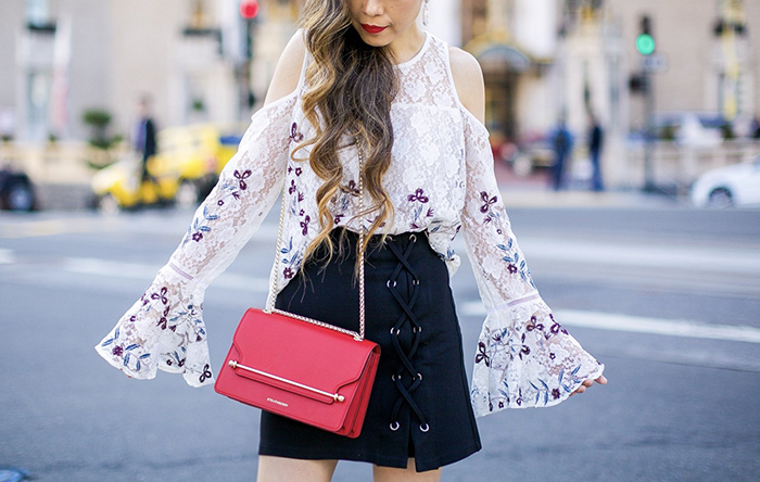 bell sleeve cold shoulder lace top, lace up skirt, strathberry east west bag, valentino rock studs, valentino heels, chloe sunglasses, date night outfit ideas, san francisco street style, san francisco fashion blog, kendra scott earrings