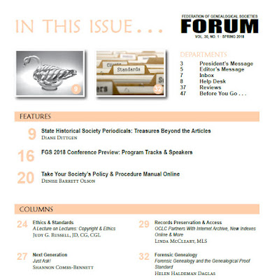 Spring 2018 Issue of FORUM - Table of Contents