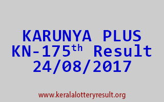 KARUNYA PLUS Lottery KN 175 Results 24-8-2017