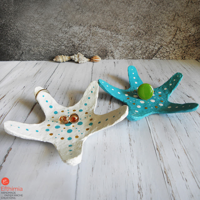 Starfish, Turquoise jewelry tray, White Jewlery tray, Trinket dish, Ring holder
