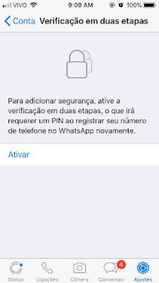 ative a 2FA do Whatsapp no Iphone