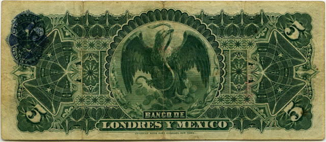 Mexico billetes cinco pesos