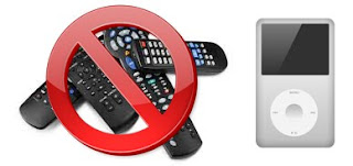 Composite image over white background of a pile of remotes on the left and an iPod on the right.