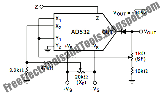 Free Schematic Diagram: Square Root Mode for AD532 Analog