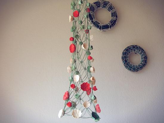 albero di Natale in macramè e fiori di carta , Natale 2016 eco design Roma