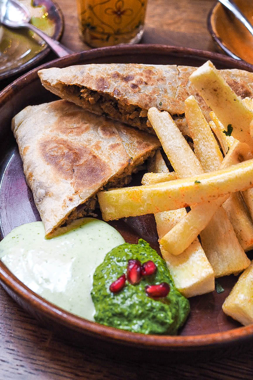 Mughlai paratha and tapioca chips