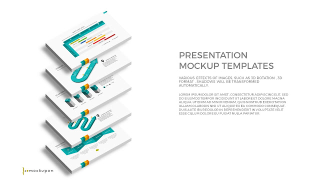 Free PowerPoint Template with 3D 5 Layered  Screen Mockups