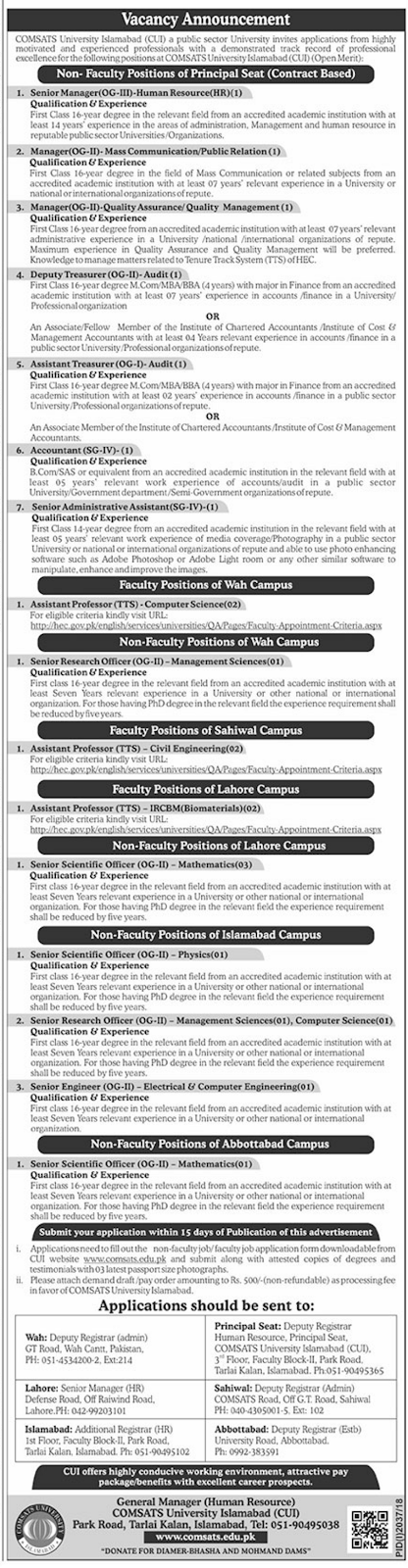 #Jobs - #Career_Opportunities #Jobs in Many jobs at COMSATS University