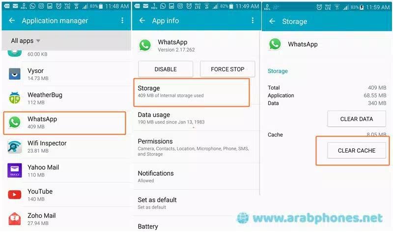 حذف بيانات التطبيق وملفات التخزين المؤقت