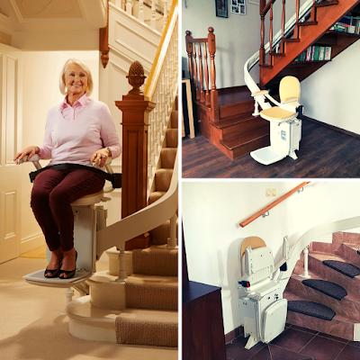 Krzesełko schodowe pozwala na samodzielne pokonywanie schodów.
