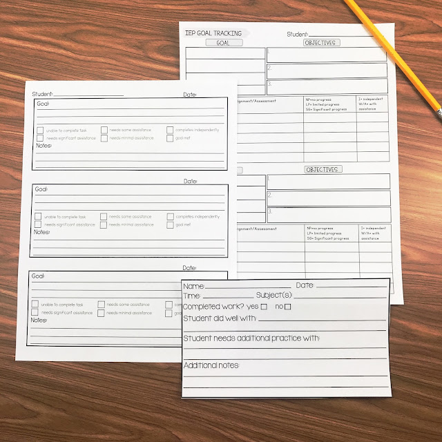 IEP goal tracking data sheets.
