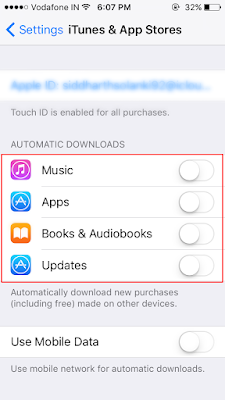disable automatic downloads in your iPhone