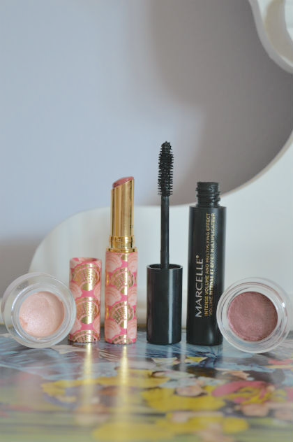 Elf Smudge Pot in Ain't That Sweet, Tarte Rainforest of the Sea Quench Lip Rescue in Nude, Marcelline Ultimate Volume Mascara, elf long-lasting lustrous eyeshadow in soiree
