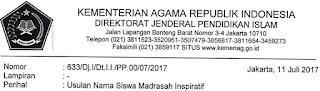 Surat Edaran Tentang Usulan Nama Siswa Madrasah Inspiratif