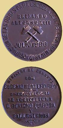 Medalla de la inauguración de las obras de la Escuela de Minas, Madrid, 1886