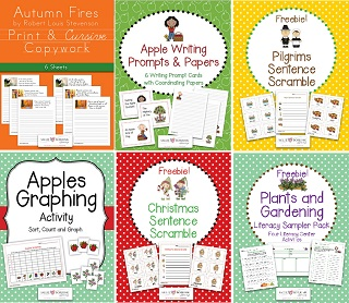 Image: free copywork printables, free literacy printables, free math  printables, free writing printables, free science printables, free Christmas printables, free Thanksgiving printables, and more!