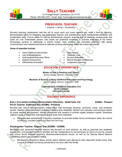 Free Sample Teacher Resume Sample Resumes
