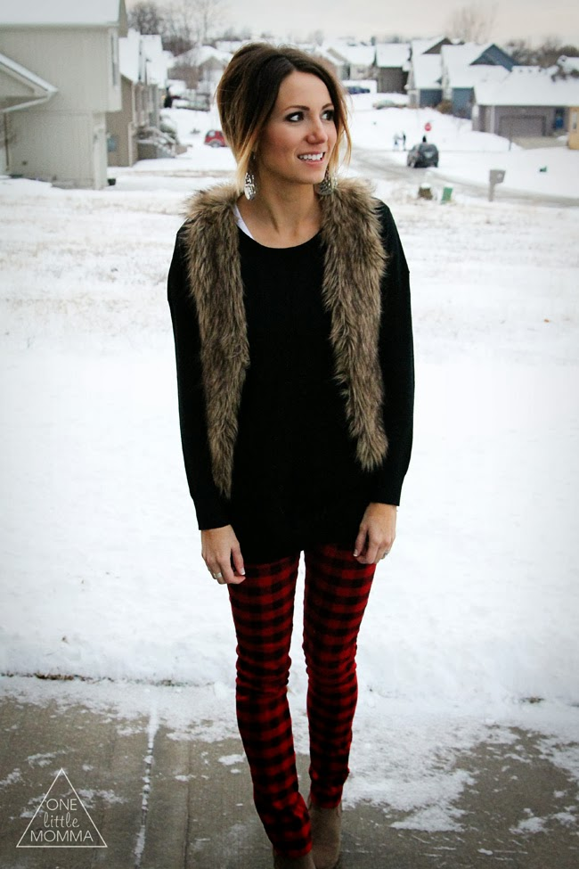 Fur vest, plaid pants, black sweater