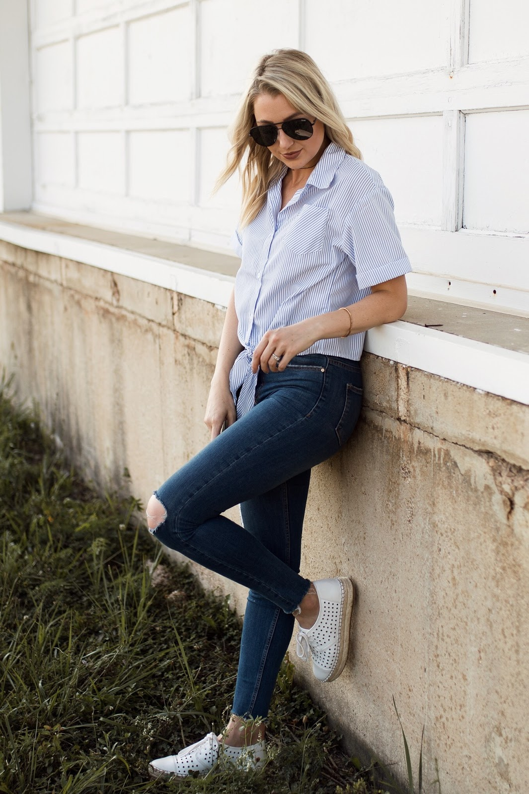 stripe button down top with a front-tie