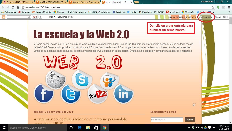 La escuela y la Web 2.0: Crear entrada en blog