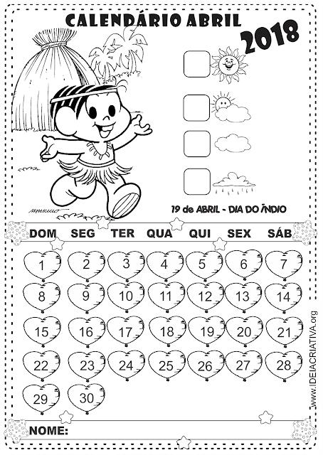 Calendário Abril 2018 para imprimir Turma da Mônica