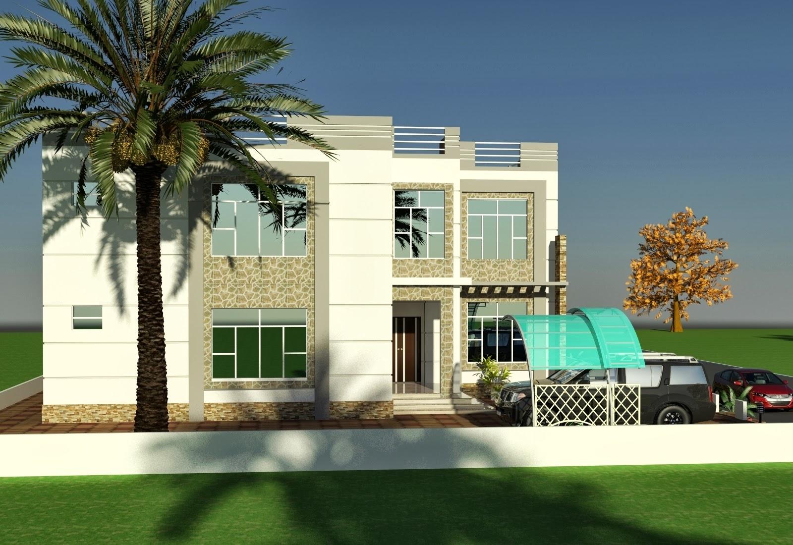 Front Elevation Of Living Room : D front elevation oman villa house design