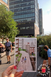 watercolor painting of The High Line in NYC