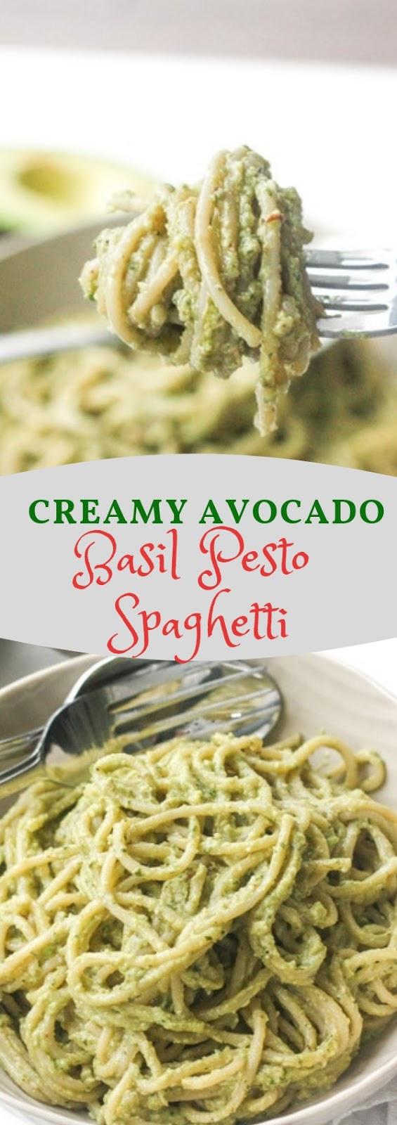 Creamy Avocado Basil Pesto Spaghetti  #dinner #creamy #avocdo #basil #spaghetti