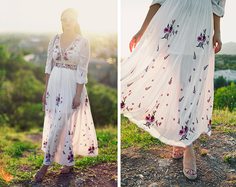 Chicwish Wondrous Floral Embroidered Maxi Dress