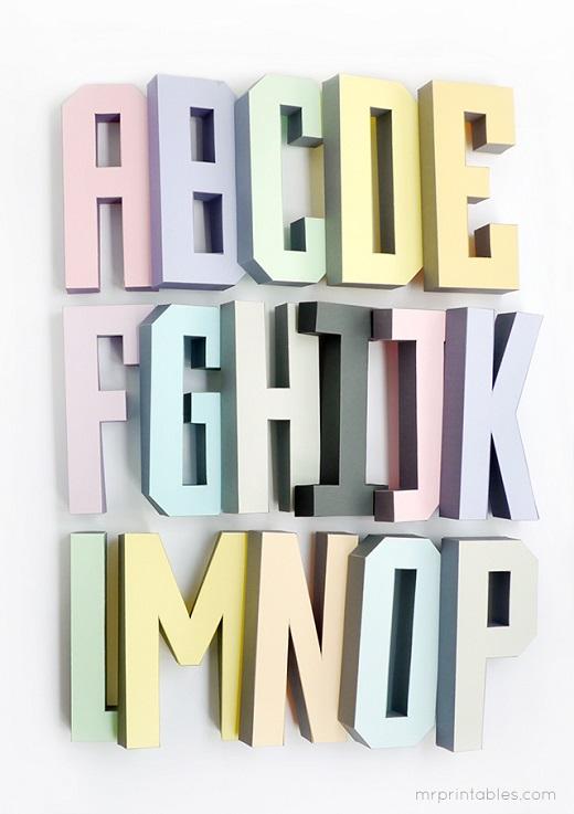 Exceptionnel Lettere dell'alfabeto tridimensionali: pdf da stampare gratis  YD46