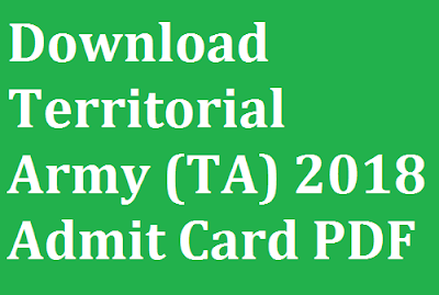 Download Territorial Army (TA) 2018 Admit Card PDF