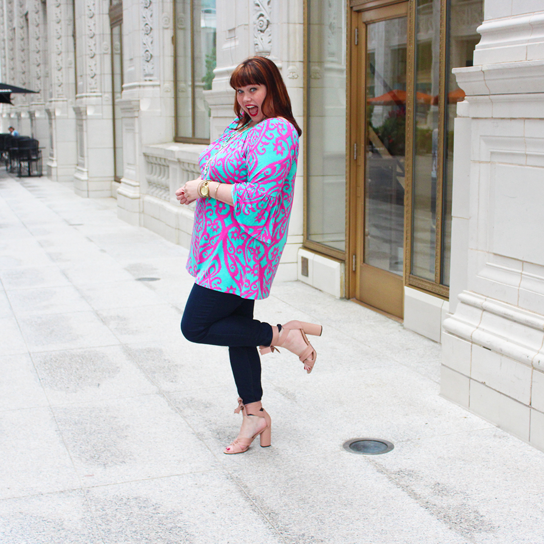 Chicago Plus Size Blogger Amber from Style Plus Curves in a Teal and Pink Top from Chic Soul, Fall Fashion, 70s