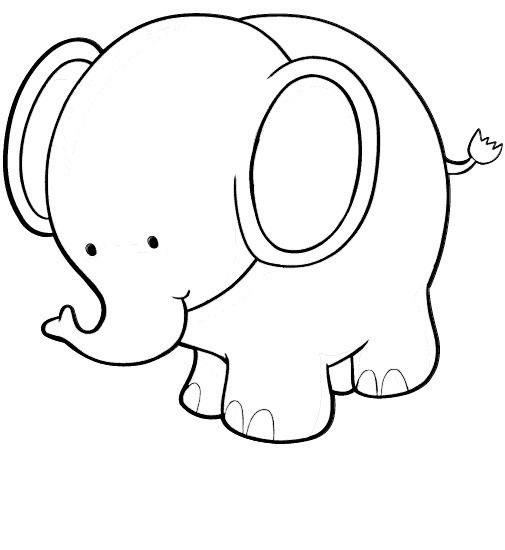 Tranh tô màu voi con đáng yêu