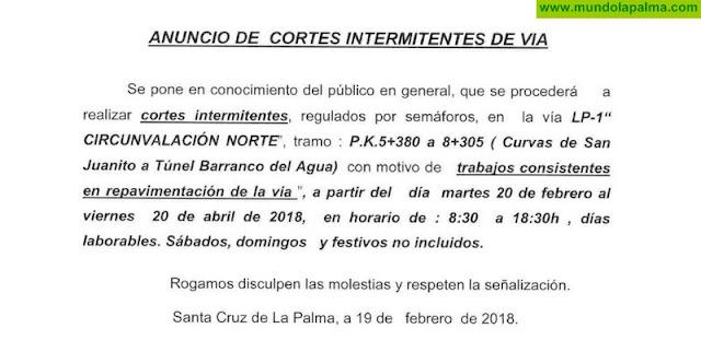 Repavimentado de la carretera LP-1 a su paso por Puntallana
