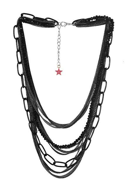 9352 Black multistranded necklace with mutiple chains and abeaded strandRs.798-min
