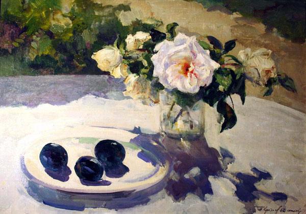 Крылов Порфирий, Розы и синие сливы. 1962  Художественный музей имени П.Н. Крылова, Тула
