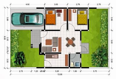ide desain dan denah rumah dengan ukuran 8 x 10 meter