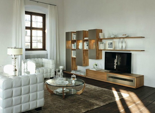 white living room interior style modern kits furniture | Modern Furniture with Natural Wood Pieces in Austria ...