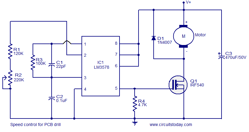 Simple Circuit For Controlling The Speed Of Dc Operated