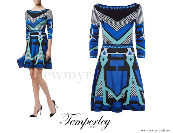 Princess Marie wore Temperley London Multicolor Brooke Fit And Flare Jacquard Dress