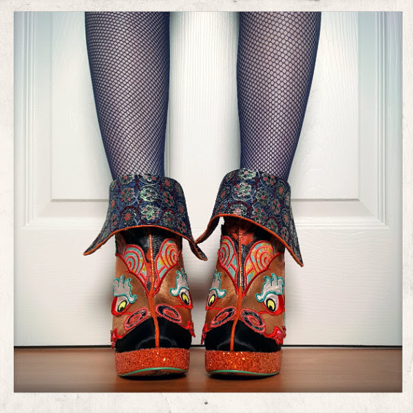 wearing irregular choice chinese dragon ankle boots