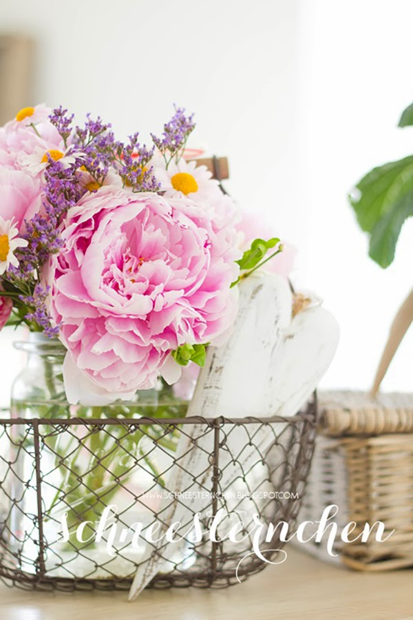 a lovely basket of flowers - Glorious Shabby Chic Living Room Inspiration You Will Love!