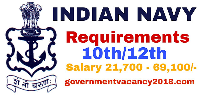 Indian Navy Recruitment 2019 | 10th-12th | Last Date: 26/01/2019 governmentvacancy2019.com