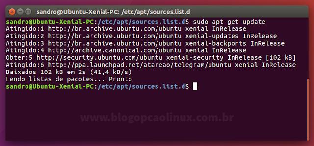 """Executando o comando """"sudo apt-get update"""""""